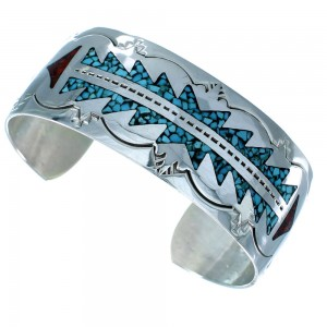 Sterling Silver Turquoise And Coral Inlay Navajo Indian Cuff Bracelet SX107447