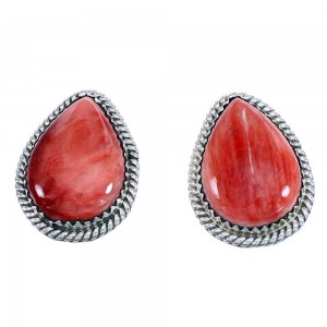 Red Oyster Shell American Indian Genuine Sterling Silver Teardrop Post Earrings RX107548