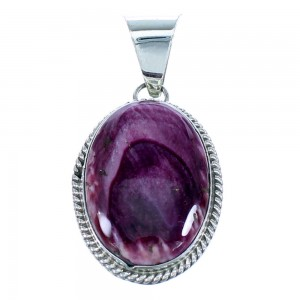 Native American Purple Oyster Shell Genuine Sterling Silver Pendant RX107554
