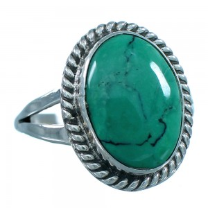 Turquoise Authentic Sterling Silver Navajo Indian Ring Size 7-3/4 RX107613
