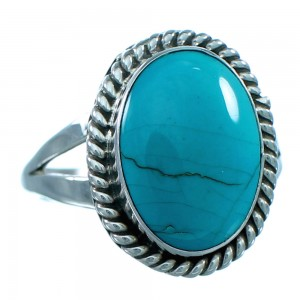 American Indian Genuine Sterling Silver Turquoise Ring Size 8-1/2 RX107651