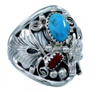 Native American Wolf Sterling Silver Turquoise And Coral Ring Size 12-3/4 SX107993