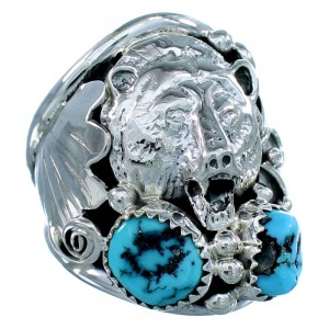 Genuine Sterling Silver Bear American Indian Turquoise Ring Size 12-3/4 SX108039