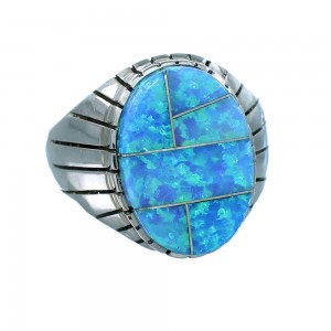 Navajo Sterling Silver Ray Jack Blue Opal Inlay Ring Size 12-1/2 SX107715