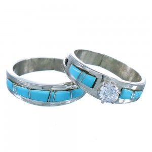 Native American Sterling Silver Turquoise And CZ Wedding Band Set Size 7 SX107772