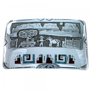 Native American Storyteller Water Wave Turquoise Coral Sterling Silver Belt Buckle SX107688