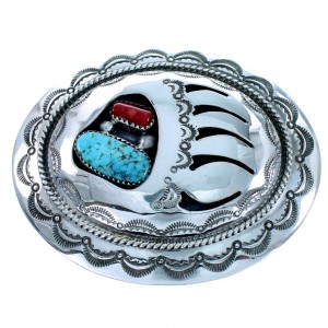 Turquoise And Coral Native American Sterling Silver Bear Paw Belt Buckle SX107693
