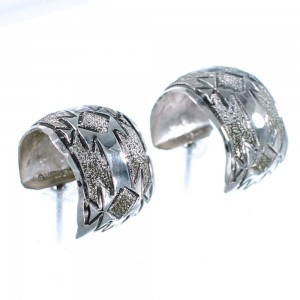 Authentic Sterling Silver Native American Post Hoop Earrings RX107780