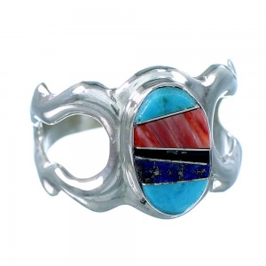 Native American Sterling Silver And Multicolor Inlay Ring Size 9-1/4 SX107894