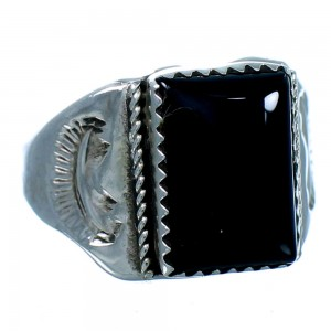 Genuine Sterling Silver And Onyx American Indian Jewelry Ring Size 9-1/4 SX107941