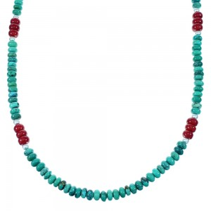 Navajo Indian Turquoise And Coral Sterling Silver Bead Necklace SX108055