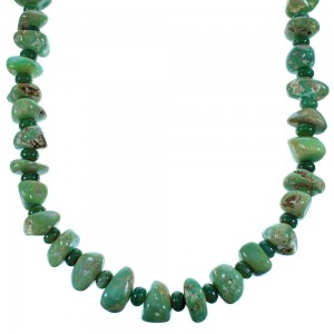 Genuine Sterling Silver Navajo Turquoise And Green Agate Bead Necklace SX108111