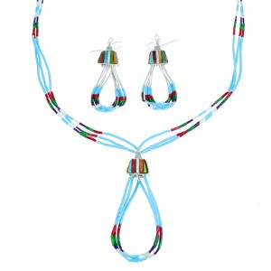 Multicolor Bead Authentic Liquid Sterling Silver Necklace And Earrings Set SX108137