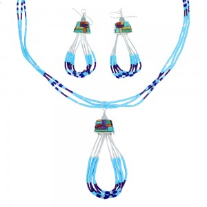 Multicolor Liquid Sterling Silver Necklace And Earrings Set SX108139