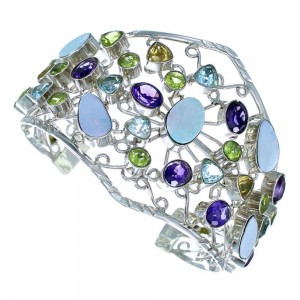 Sterling Silver Multicolor Gem Stone Bracelet Jewelry GS57396