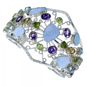 Southwest Multicolor Gem Stone Silver Bracelet GS57394