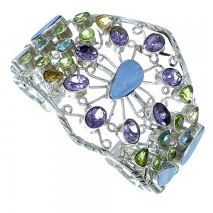 Multicolor Southwest Sterling Silver Cuff Bracelet GS57391
