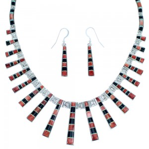 Multicolor Inlay Southwestern Silver Link Necklace Set PX37181