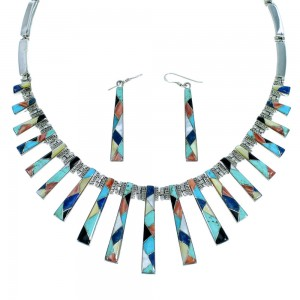 Sterling Silver Multicolor Inlay Necklace And Earrings Set RX102044