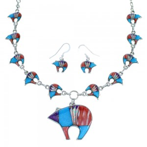 Multicolor Sterling Silver Bear Link Necklace Earrings Set PX35826