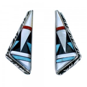 Multicolor Inlay Sterling Silver Zuni Post Earrings SX108303