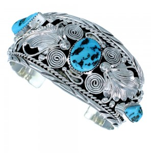 American Indian Turquoise Sterling Silver Leaf Cuff Bracelet RX108341