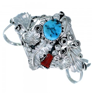 Genuine Sterling Silver Flower And Leaf Navajo Turquoise Coral Jewelry Cuff Bracelet RX108396