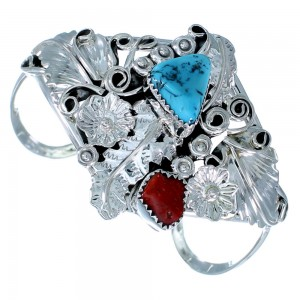 Genuine Sterling Silver Flower And Leaf Turquoise Coral Native American Cuff Bracelet RX108397