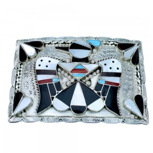 Zuni Sterling Silver Multicolor Inlay Thunderbird Belt Buckle RX108539