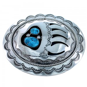 Turquoise Sterling Silver Bear Paw Navajo Belt Buckle RX108546