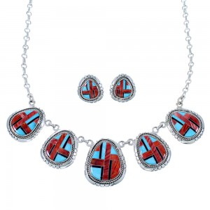 Southwest Silver Multicolor Jewelry Link Necklace Earrings Set PX37800