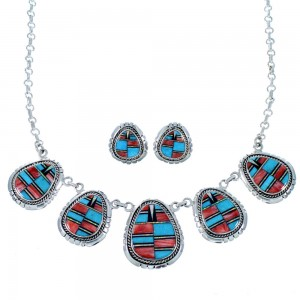 Multicolor Southwest Jewelry Silver Link Necklace Earrings PX36780