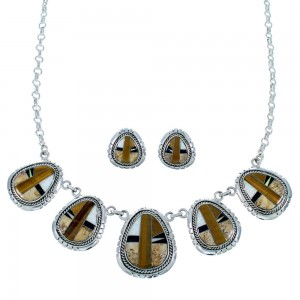 Silver Tiger Eye Multicolor Link Necklace Earrings Jewelry Set HS28545