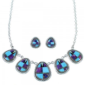 Multicolor Inlay Jewelry Sterling Silver Link Necklace Set HS28538