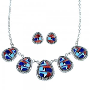Southwest Jewelry Multicolor Inlay Link Necklace Earrings Set PX36799