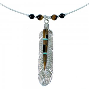 Multicolor Inlay Feather And Liquid Sterling Silver Necklace WX77788