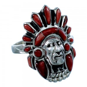 Sterling Silver Red Oyster Shell Chief Head Ring Size 7-1/2 NS42763