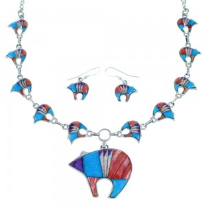 Silver Multicolor Bear Link Necklace Earrings Jewelry Set FX26432