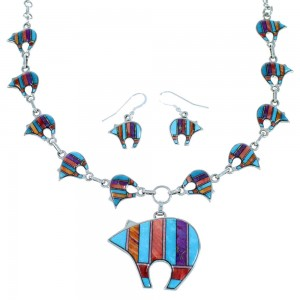 Sterling Silver Turquoise Multicolor Bear Link Necklace Set HS28659