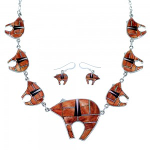 Genuine Sterling Silver Southwest Bear Multicolor  Necklace And Earrings Set PX37336