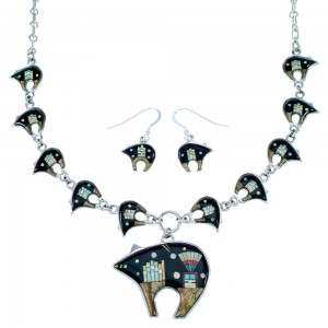 Silver Multicolor Mesa Design Bear Link Necklace Set PX37994