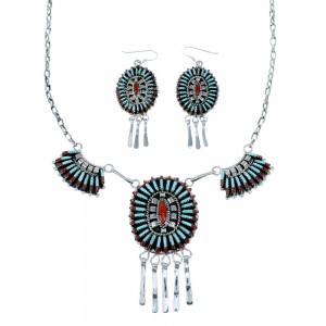 Turquoise Coral Southwest Link Necklace Earrings Set GS74741