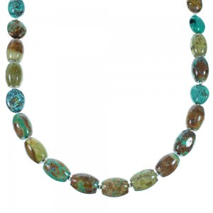 American Indian Sterling Silver Turquoise Bead Necklace RX108640