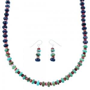 Navajo Multicolor Sterling Silver Bead Necklace And Earrings Set SX108668