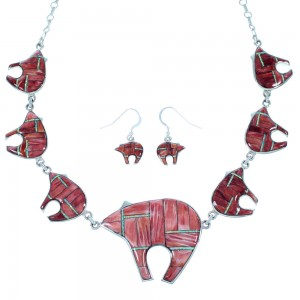 Red Oyster Shell Opal Jewelry Silver Bear Link Necklace Set HS24779