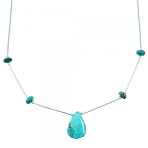 Liquid Sterling Silver Turquoise Tear Drop Bead Necklace SX108742