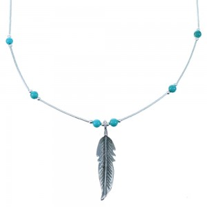 Genuine Liquid Sterling Silver Feather Turquoise Bead Necklace SX108751