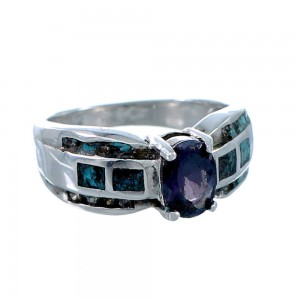 Sterling Silver Turquoise Tanzanite Cubic And Zirconia Ring Size 5-3/4 RX108756