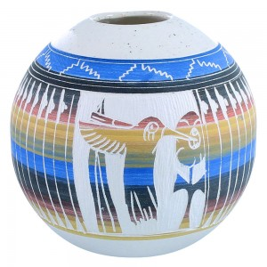 American Indian Hand Crafted Flower And Hummingbird Pot By Artist Tamaria Arviso SX109046