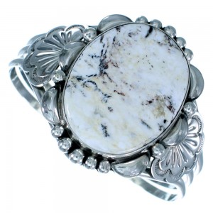 Navajo White Buffalo Turquoise Sterling Silver Cuff Bracelet RX109100